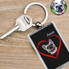 Your Pet on a Keychain Keychain Bailey's Blanket