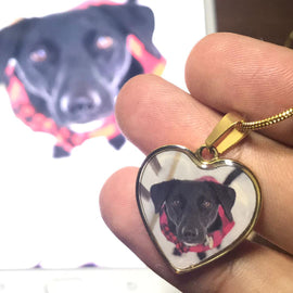 Your Pet on a Heart Necklace Jewelry ShineOn Fulfillment