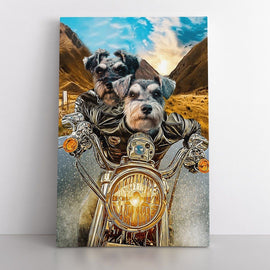 Your Pets on a Harley Canvas Bailey's Blanket