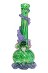 Noble Glass Medium Flower Green w/Purple