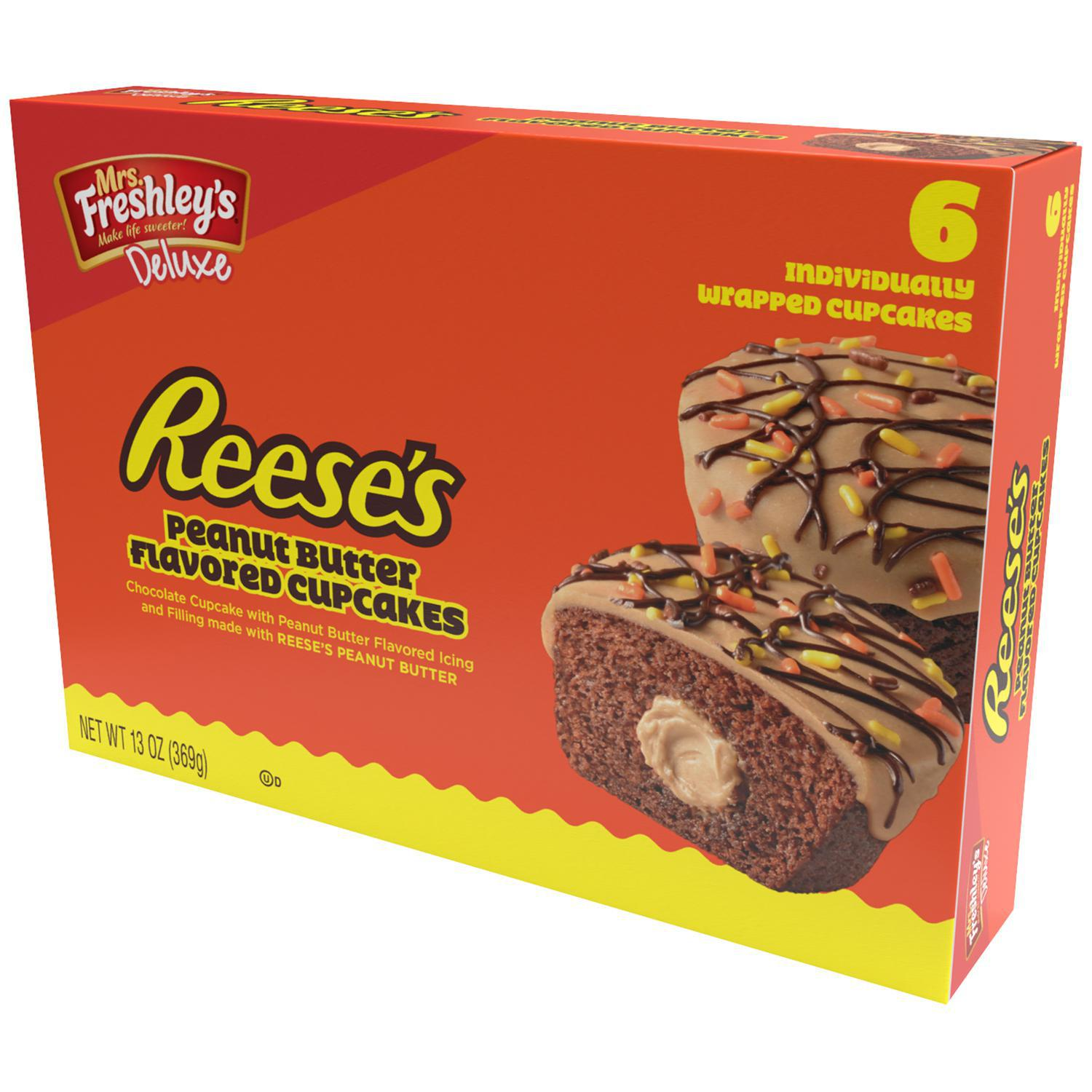 Mrs. Freshley's Reese's Peanut Butter Flavored Cupcakes 6 ct Box