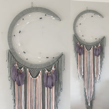 Load image into Gallery viewer, Modern mooncatcher in grey with feather and bead details