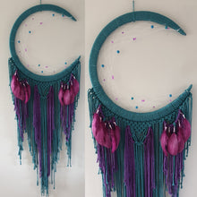 Load image into Gallery viewer, Peacock coloured moon catcher with pretty feathers