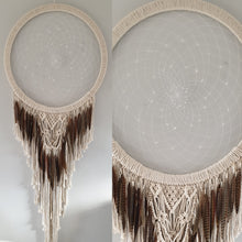 Load image into Gallery viewer, Macrame and feathered dreamcatcher