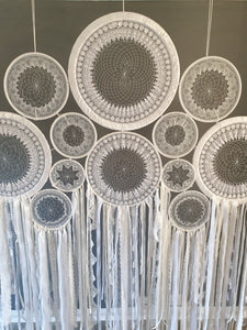 Huge lace dreamcatcher backdrop.