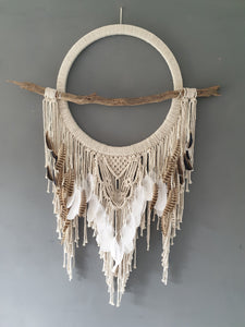 Large feathered driftwood dreamcatcher