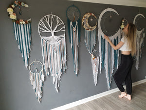 Huge white and teal moon dreamcatcher