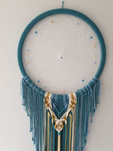 Large blue and biege dreamcatcher