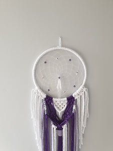Purple and white macrame dreamcatcher