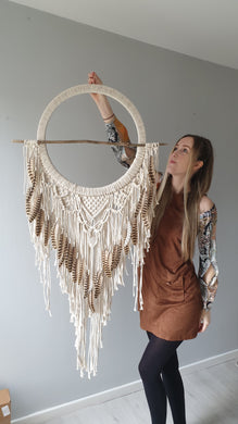 Feathered driftwood dreamcatcher