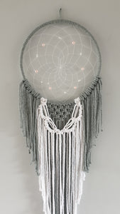 Grey and white macrame dreamcatcher