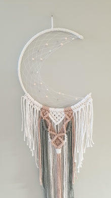 White and pink moon dreamcatcher