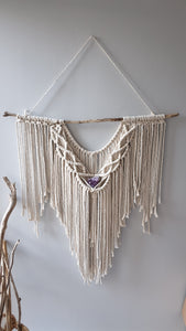 Macrame wall Hanging. With amethyst