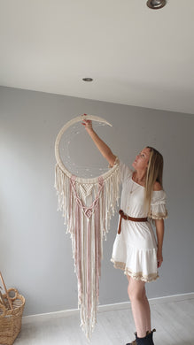 Pink and ecru macrame moon dreamcatcher, Melba