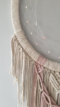 Load image into Gallery viewer, Pink and ecru macrame moon dreamcatcher, Melba