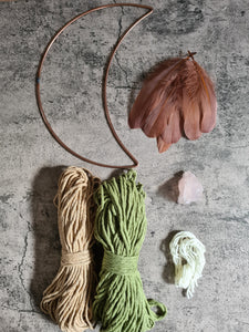DIY KIT for Macrame Mooncatcher with crystal pouch