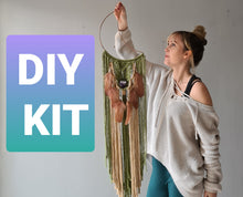 Load image into Gallery viewer, DIY KIT for Macrame Mooncatcher with crystal pouch