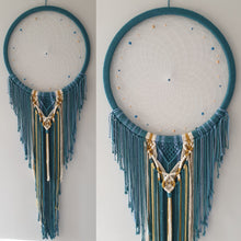 Load image into Gallery viewer, Large blue and biege dreamcatcher