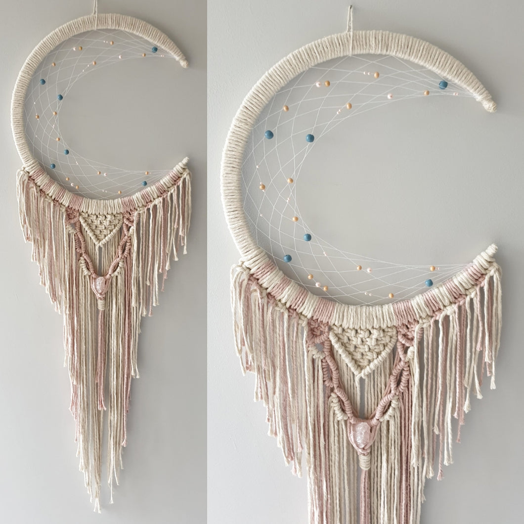 Pink and biege moon dreamcatcher with rose quartz