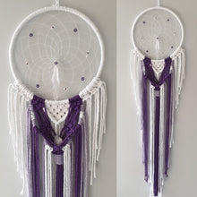 Load image into Gallery viewer, Purple and white macrame dreamcatcher