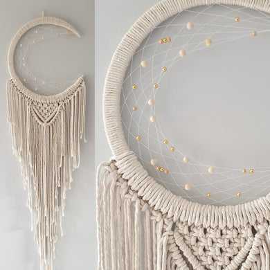 Natural Boho moon dreamcatcher