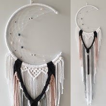 Load image into Gallery viewer, pink black grey and white macrame moon catcher