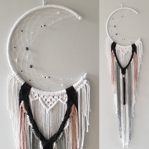 pink black grey and white macrame moon catcher