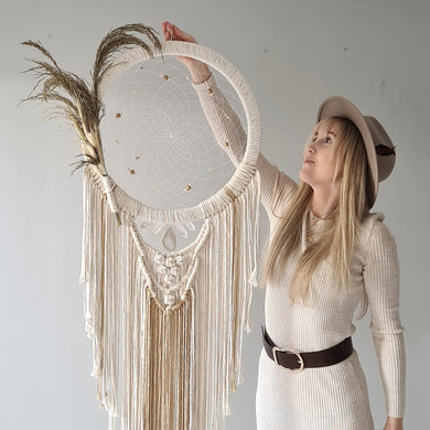 Boho macrame dreamcatcher with pampas grass
