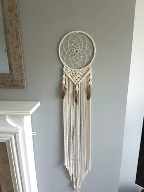 Macrame feathered dream catcher