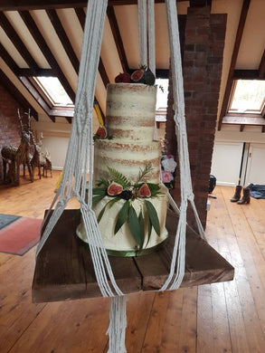 Macrame wedding cake hanger