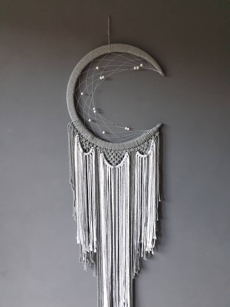 Grey and white moon dreamcatcher, Maia