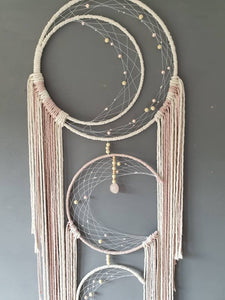 Triple moon catcher. Natural and pink string with rose quartz.