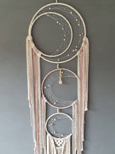 Load image into Gallery viewer, Triple moon catcher. Natural and pink string with rose quartz.