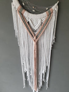 White and pink macrame mooncatcher, Macaria