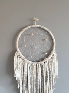 Antique white and pink dreamcatcher