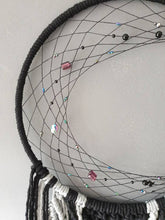 Load image into Gallery viewer, Black beaded moon dreamcatcher, Makkala