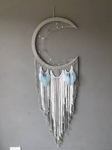 Grey moon catcher with sky blue feathers, Maia
