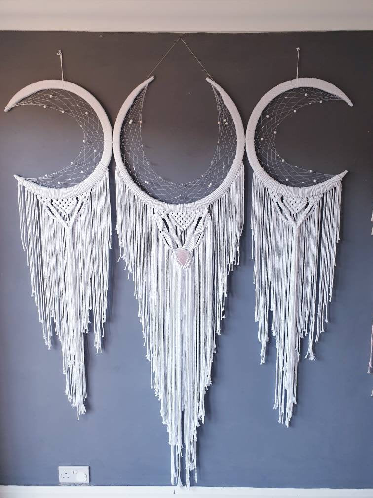 3 moons dreamcatcher. Rose quartz included