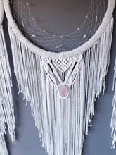 Load image into Gallery viewer, 3 moons dreamcatcher. Rose quartz included