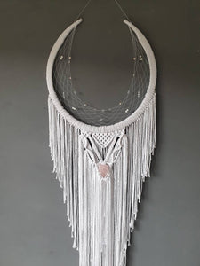 Rose quartz horseshoe dreamcatcher, Epona moon
