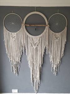 Huge boho dreamcatcher wall hanging with agate slice, driftwood.