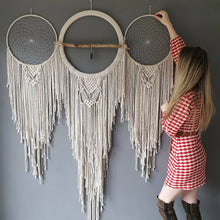 Load image into Gallery viewer, Huge boho dreamcatcher wall hanging with agate slice, driftwood.
