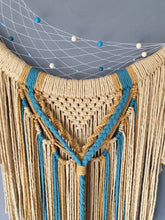 Load image into Gallery viewer, Mustard crescent moon macrame wall hanging.