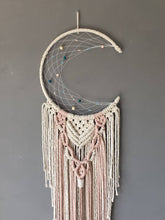 Load image into Gallery viewer, Ecru and pink, melba, macrame, moon dreamcatcher wall hanging.