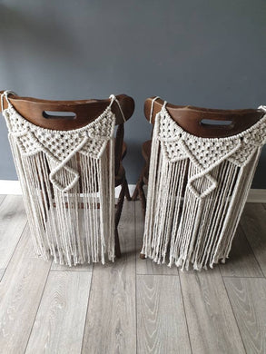 Macrame wedding chair backs.