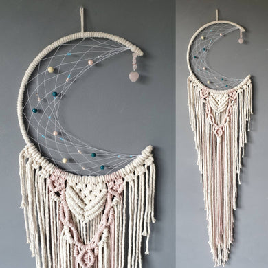 Melba moon dreamcatcher with rose quartz heart.