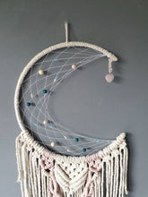 Load image into Gallery viewer, Melba moon dreamcatcher with rose quartz heart.