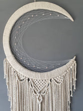 Load image into Gallery viewer, Mardoll Natural macrame moon dreamcatcher.