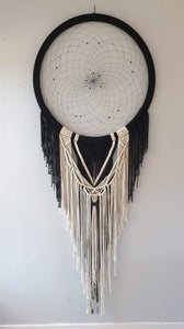 Black dreamcatcher with natural string macrame detail