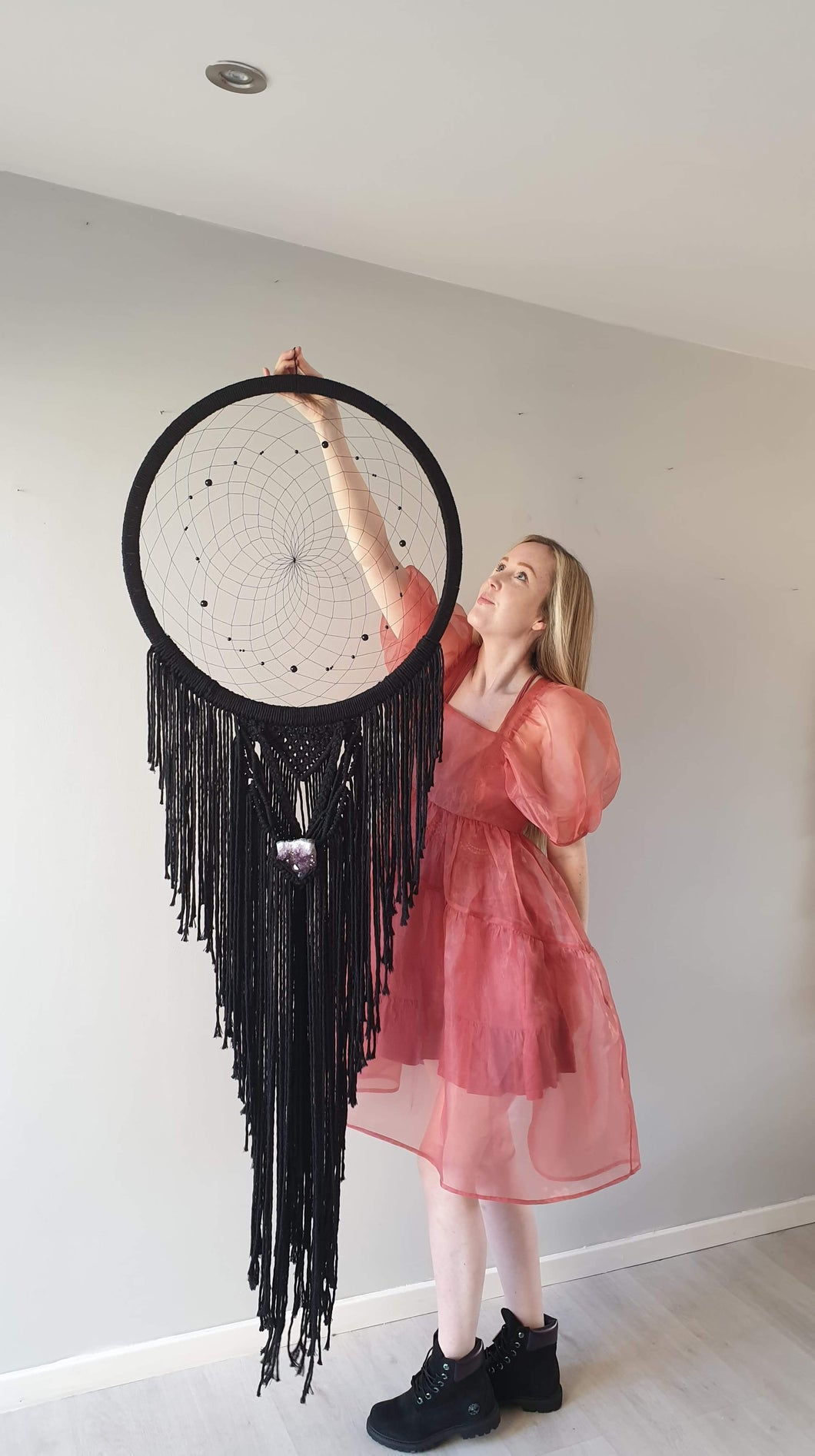 Black dream catcher with crystal